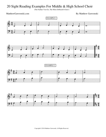 20 Sight Reading Examples Intermediate Middle School High School