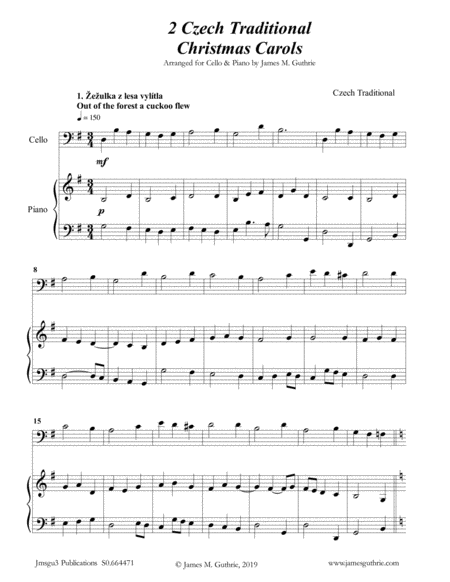 2 Traditional Czech Christmas Carols For Cello Piano