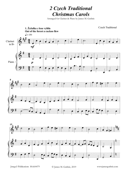 2 Traditional Czech Christmas Carols For Clarinet Piano