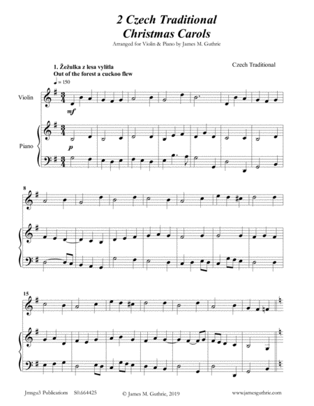 2 Traditional Czech Christmas Carols For Violin Piano