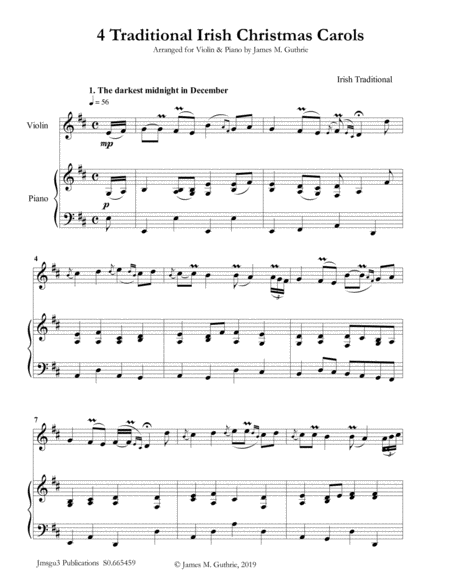4 Traditional Irish Christmas Carols For Violin Piano