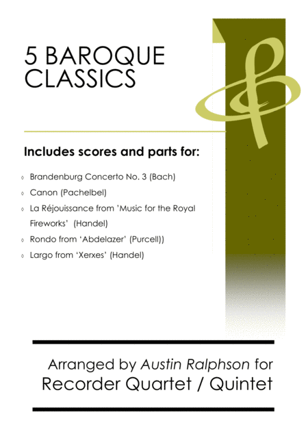 5 Baroque Classics Recorder Quintet And Quartet Bundle Book Pack