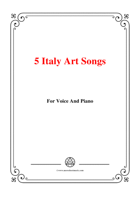 5 Italy Art Songs 93 For Voice And Piano