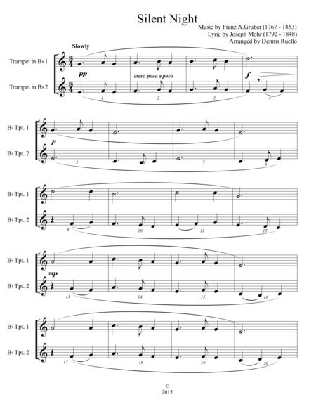 6 Traditional Christmas Carols For Trumpet Duet Advanced Intermediate
