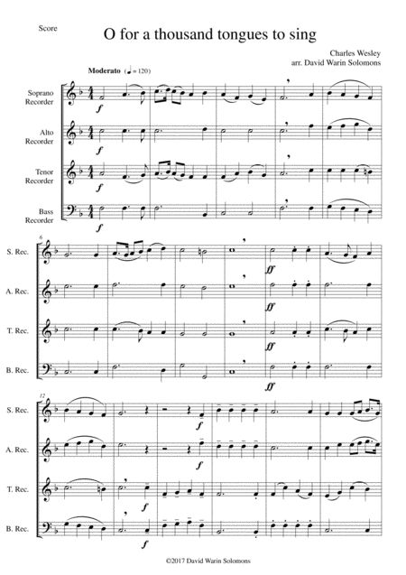 7 Songs Of Glory For Recorder Quartet