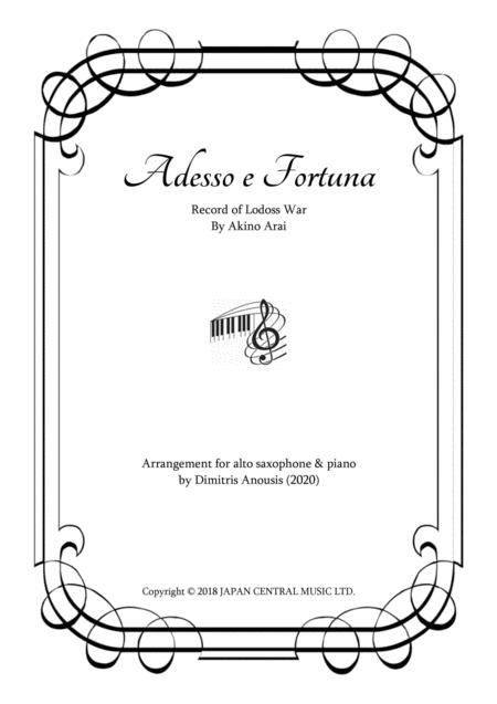 Adesso E Fortuna Record Of Lodoss War Alto Sax Piano Arrangement