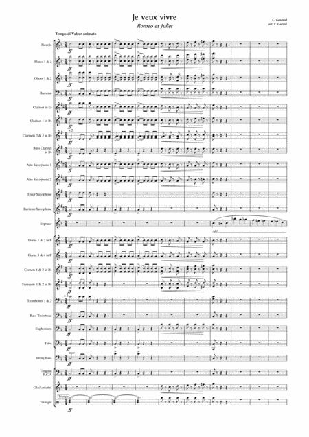 Ah Je Veux Vivre From Romeo And Juliet Arranged For Soprano Solo And Concert Band