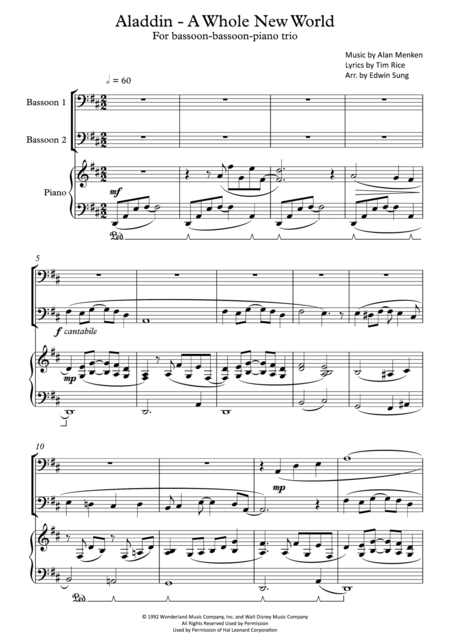 Aladdin A Whole New World For Bassoon Bassoon Piano Trio Including Part Scores