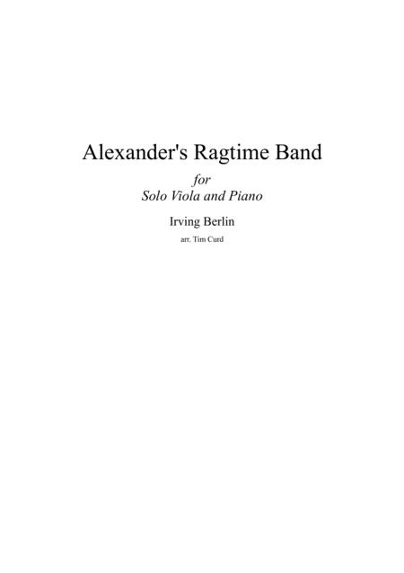 Alexander Ragtime Band For Solo Viola And Piano