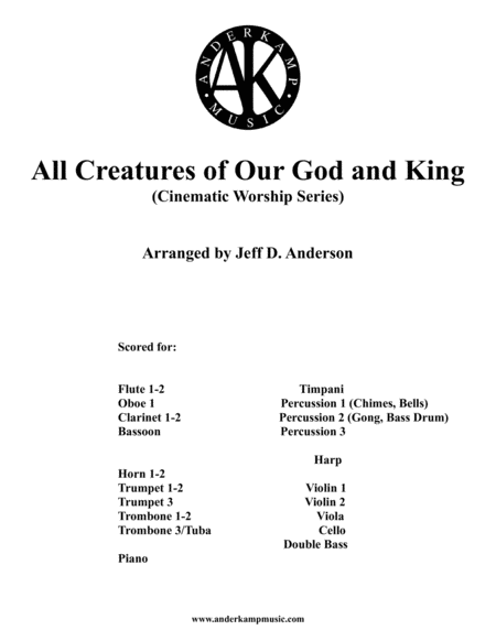 All Creatures Of Our God And King Instrumental For Orchestra