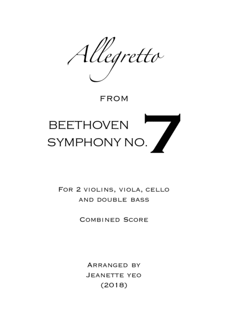 Allegretto From Beethoven Symphony No 7 For String Ensemble Conductors Score