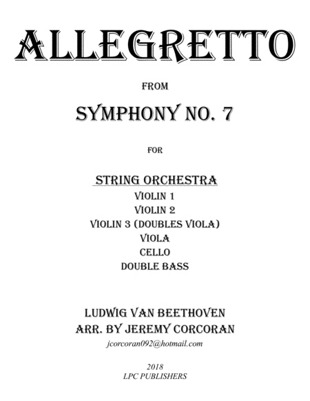 Allegretto From Symphony No 7 For String Orchestra