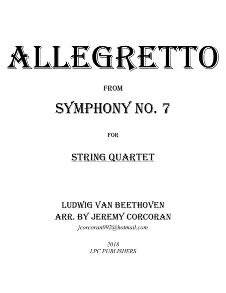 Allegretto From Symphony No 7 For String Quartet
