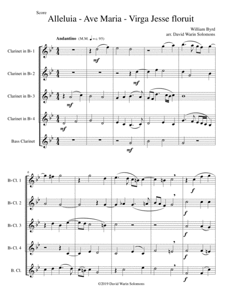 Alleluia Ave Maria Virga Jesse Floruit Arranged For Clarinet Quintet 4 B Flats And 1 Bass