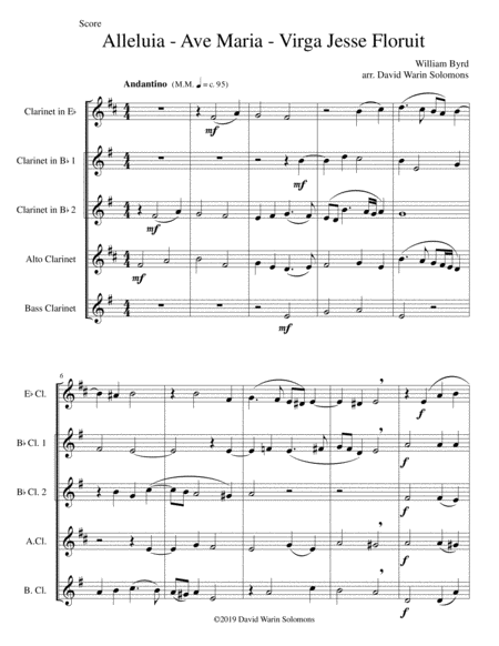 Alleluia Ave Maria Virga Jesse Floruit Arranged For Clarinet Quintet E Flat 2 B Flats Alto And Bass