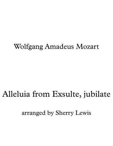 Alleluia From Exsulte Jubilate K 165 String Trio For String Trio