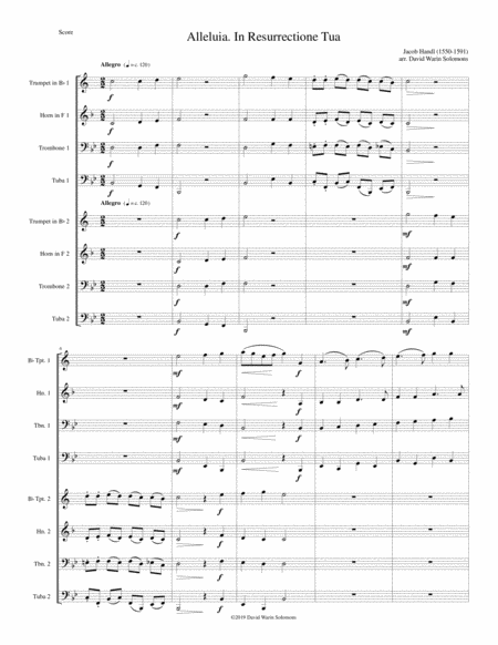 Alleluia In Resurrectione Tua Arranged For Brass Octet