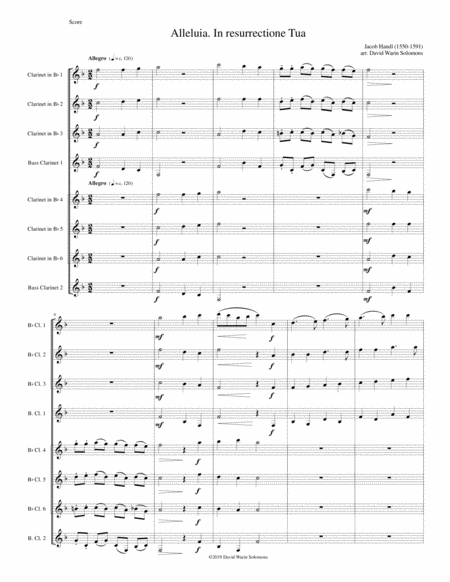 Alleluia In Resurrectione Tua Arranged For Clarinet Octet Or Clarinet Choir B Flats And Basses