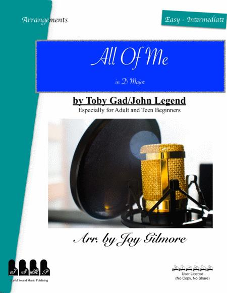 All Of Me In D Major Not Original Key Easy Piano Arrangement Free Lifetime New Version Upgrade Free Paper Keyboard Available
