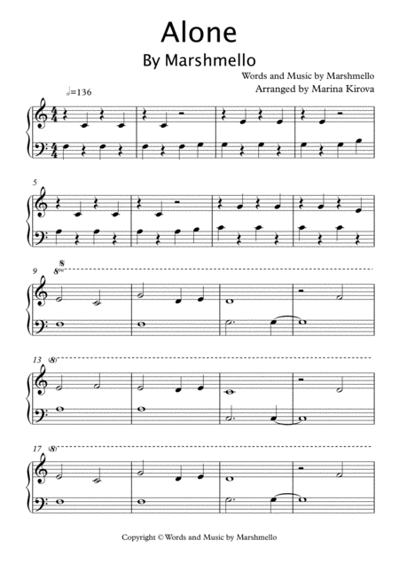Alone By Marshmello Easy Piano In Easy To Read Format