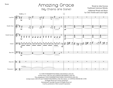 Amazing Grace My Chains Are Gone For Steel Band