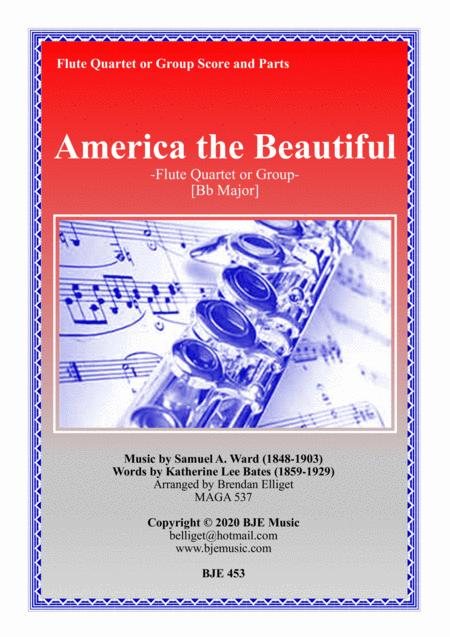 America The Beautiful Flute Quartet Or Group Score And Parts