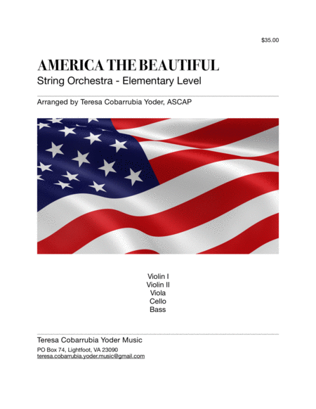 America The Beautiful String Orchestra Elementary By Teresa Cobarrubia Yoder Ascap