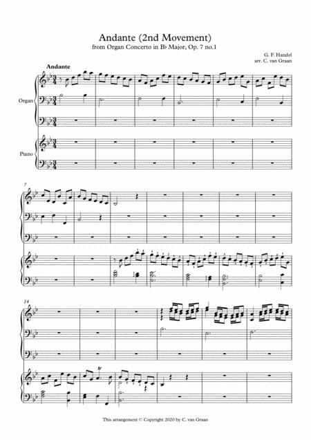 Andante 2nd Movement From Organ Concerto Op 7 No 1 G F Handel Organ Piano Duet