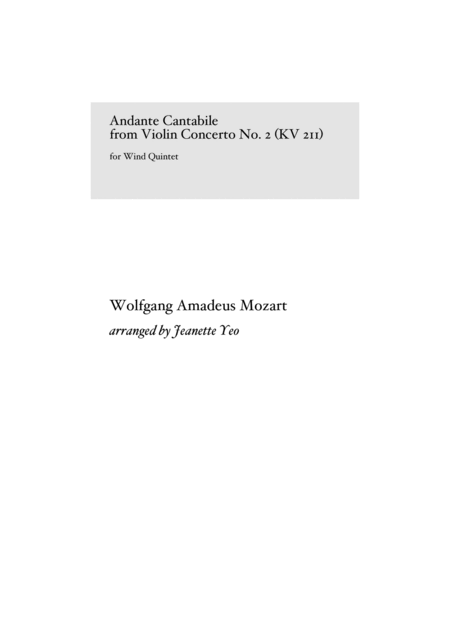 Andante Cantabile From Mozarts Violin Concerto No 2 In D Major Kv 211 For Wind Quintet Part Score