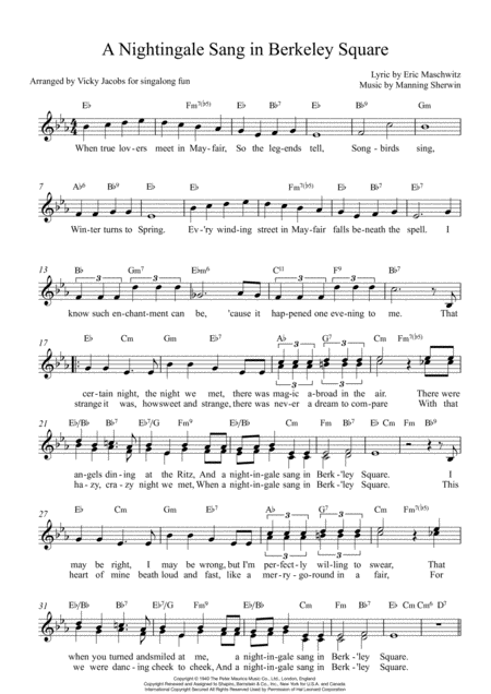 A Nightingale Sang In Berkeley Square Lead Sheet For Singalongs