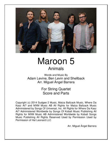 Animals String Quartet Maroon 5