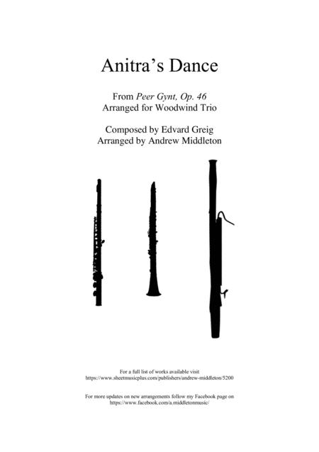 Anitras Dance From Peer Gynt Op 46 Arranged For Woodwind Trio