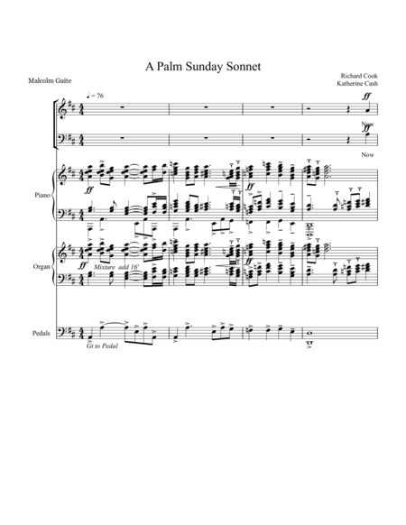 A Palm Sunday Sonnet Piano Organ Vocal