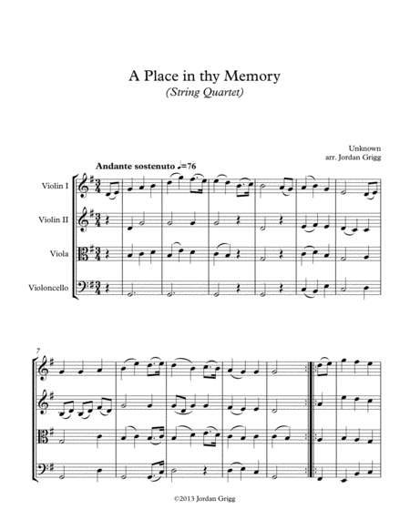A Place In Thy Memory String Quartet