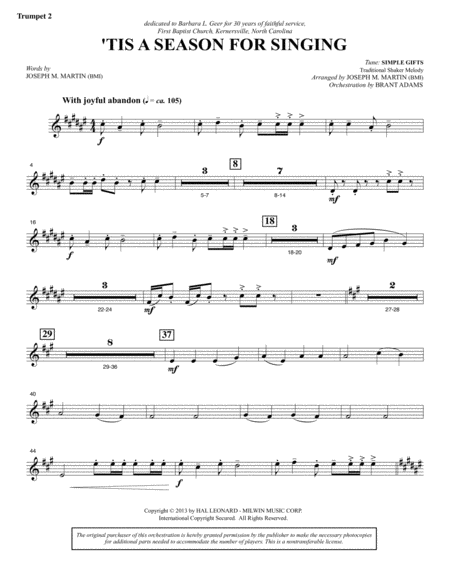 Appalachian Winter A Cantata For Christmas Bb Trumpet 2