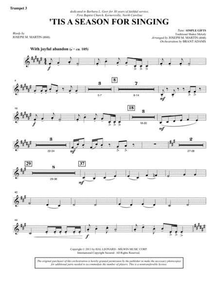 Appalachian Winter A Cantata For Christmas Bb Trumpet 3