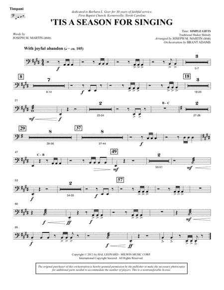 Appalachian Winter A Cantata For Christmas Timpani
