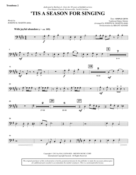 Appalachian Winter A Cantata For Christmas Trombone 2