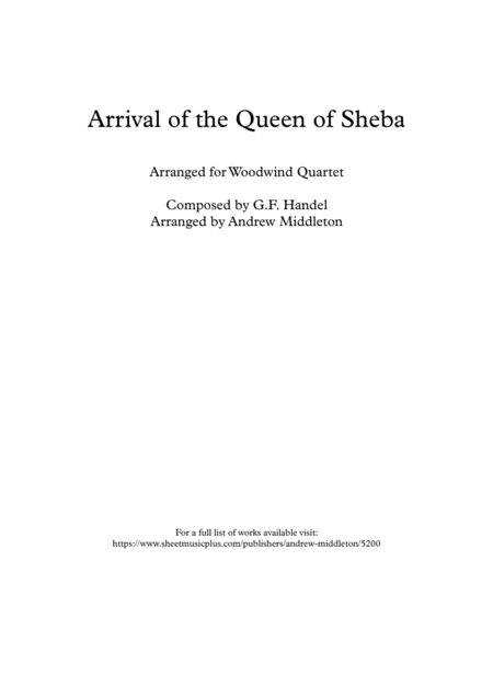 Arrival Of The Queen Of Sheba Arranged For Woodwind Quartet
