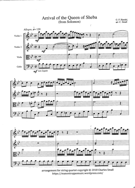 Arrival Of The Queen Of Sheba From Solomon String Quartet Score