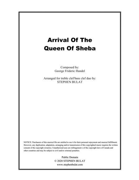 Arrival Of The Queen Of Sheba Handel Violin Cello Duo Or Other Treble Clef Bass Clef Instruments Key Of E
