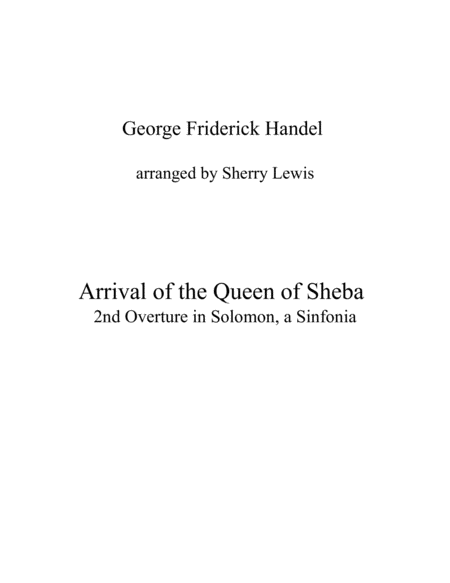 Arrival Of The Queen Of Sheba String Quartet For String Quartet