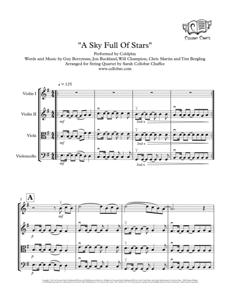A Sky Full Of Stars String Quartet Coldplay Arr Cellobat Recording Available