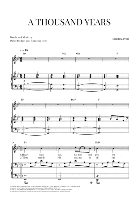A Thousand Years For Voice And Easy Piano Lead Sheet With Chords