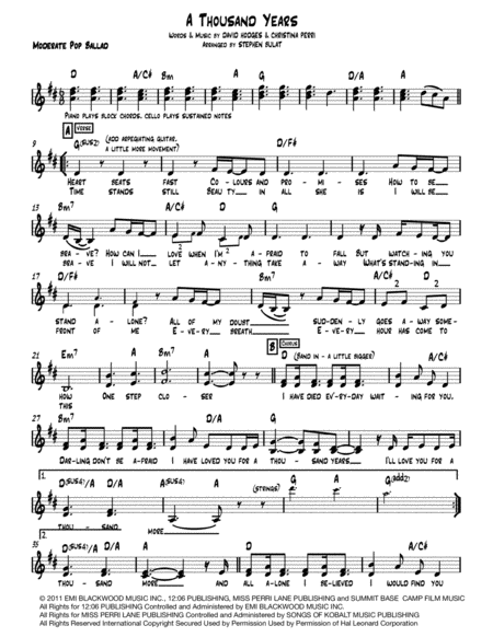 A Thousand Years Lead Sheet Melody Lyrics Chords In Key Of D