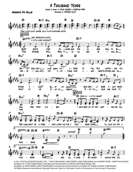 A Thousand Years Lead Sheet Melody Lyrics Chords In Key Of Db