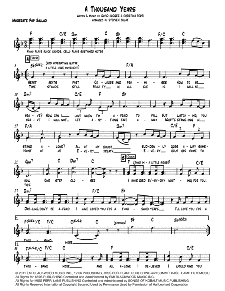 A Thousand Years Lead Sheet Melody Lyrics Chords In Key Of F