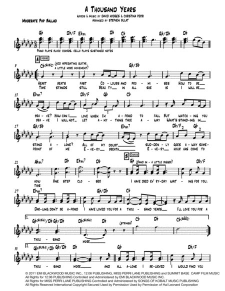 A Thousand Years Lead Sheet Melody Lyrics Chords In Key Of Gb
