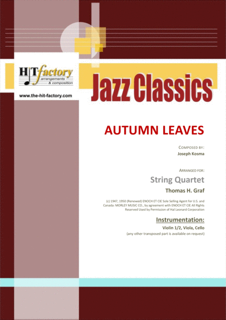 Autumn Leaves Am Jazz Classic Les Feuilles Mortes String Quartet