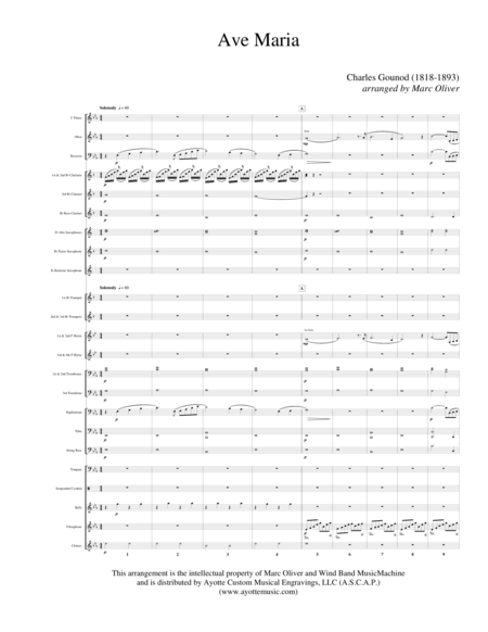 Ave Maria Bach Gounod For Concert Band Band Set With Full Score And Parts